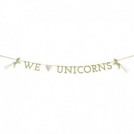"""WE LOVE UNICORNS"" GARLAND – GOLD"
