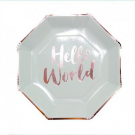 "8 ""HELLO WORLD"" PLATES – BRIGHT MINT"