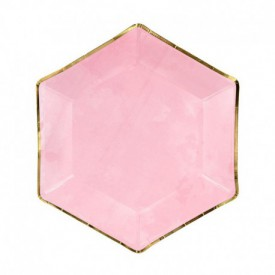6 MARBLED PLATES – PINK AND GOLD