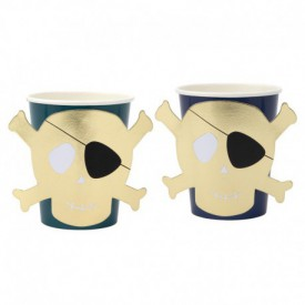 "8 ""PIRATE"" CUPS – BLUE AND GOLD"