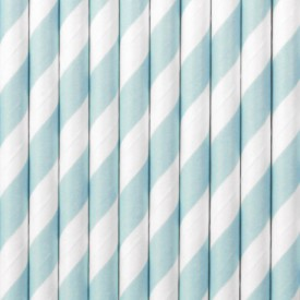 10 STRIPED STRAWS – SKY BLUE AND WHITE
