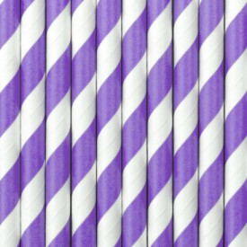 10 STRIPED STRAWS – LILAC AND WHITE