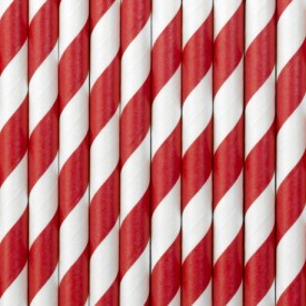 10 STRIPED STRAWS – RED AND WHITE