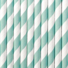 10 STRIPED STRAWS – MINT AND WHITE
