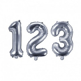 SMALL NUMBERED BIRTHDAY BALLOON – SILVER