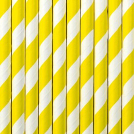 10 STRIPED STRAWS – YELLOW AND WHITE