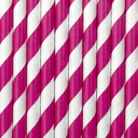 10 STRIPED STRAWS – FUCHSIA AND WHITE