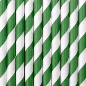 10 STRIPED STRAWS – GREEN AND WHITE