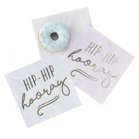 "16 ""HIP HIP HOORAY"" SERVIETTES – PASTEL"