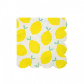 20 LEMON-PRINT SERVIETTES – YELLOW