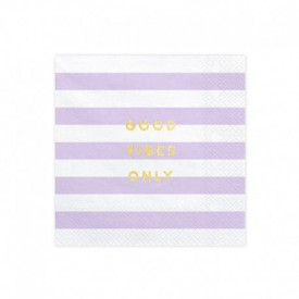 "20 ""GOOD VIBES ONLY"" SERVIETTES – LILAC"