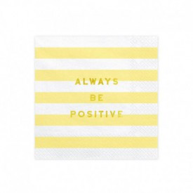 "20 ""ALWAYS BE POSITIVE"" SERVIETTES – YELLOW"