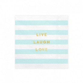 "20 ""LIVE, LAUGH, LOVE"" SERVIETTES"" – BLUE"