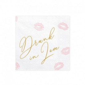 "20 ""DRUNK IN LOVE"" SERVIETTES – WHITE AND GOLD"