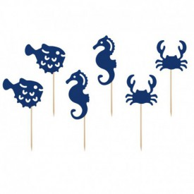 "6 ""SEA"" CAKE SKEWERS – BLUE"