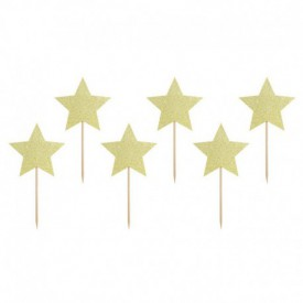 "6 ""STAR"" CAKE SKEWERS – GOLD"