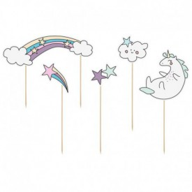 6 CUPCAKE SKEWERS – UNICORN