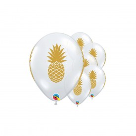 5 PRINTED BALLOONS - PINEAPPLE