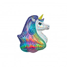MYLAR FOIL HOLOGRAPHIC UNICORN BALLOON