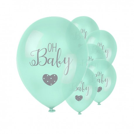 """6 """"OH BABY"""" BALLOONS - MINT"""