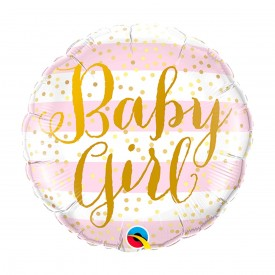 "ROUND FOIL ""BABY GIRL"" BALLOON - LIGHT PINK"