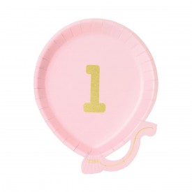"12 ""1st BIRTHDAY"" PLATES - LIGHT PINK"