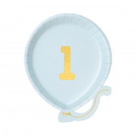 "12 ""1st BIRTHDAY"" PLATES - BLUE"