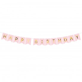 """HAPPY BIRTHDAY"" GARLAND - LIGHT PINK"