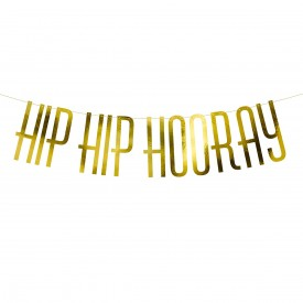 """HIP HIP HOURRAY"" GARLAND - GOLD"