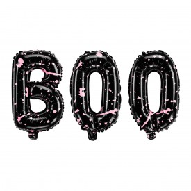 "MYLAR FOIL BALLOON ""BOO""- BLACK AND PINK"