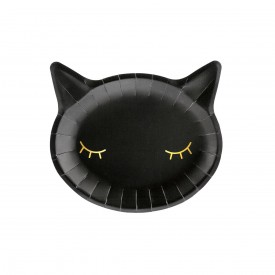 6 BLACK CAT PLATES - BLACK AND GOLD