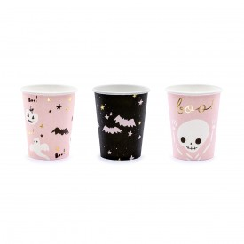 "6 ""BOO"" CUPS - BLACK AND PINK"