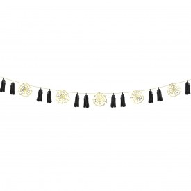 SPIDERWEB TASSEL GARLAND - BLACK AND GOLD