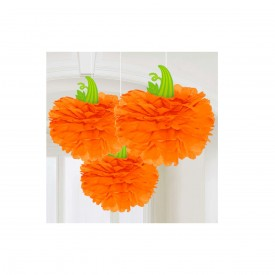 3 HALLOWEEN PUMPKIN POM POM - ORANGE