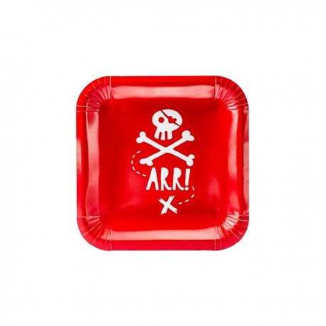 "6 ""PIRATE"" PLATES - RED"