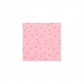 "20 PRINTED NAPKINS ""STAR"" - PINK"
