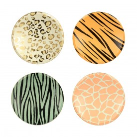 "8 PLATES WITH ""WILD ANIMAL"" PRINTS"