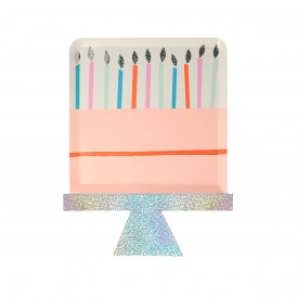 "8 ""BIRTHDAY CAKE"" PLATES - PASTEL AND HOLOGRAPHIC"