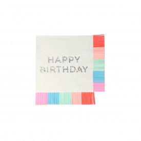 "16 ""HAPPY BIRTHDAY"" NAPKINS - MULTICOLOURED AND HOLOGRAPHIC"