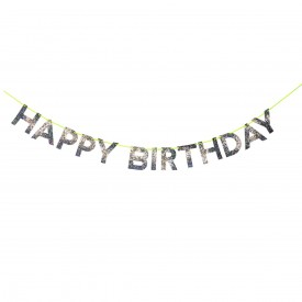 """HAPPY BIRTHDAY"" GARLAND – SILVER"