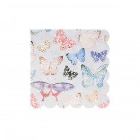 "16 NAPKINS WITH 'BUTTERFLY"" PRINTS – PASTEL"