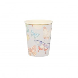 "8 CUPS WITH ""BUTTERFLY"" PRINTS - PASTEL"