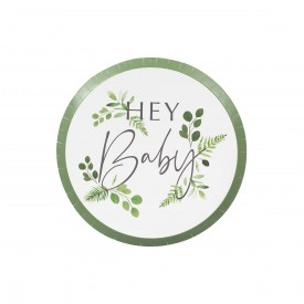 "8 ""HEY BABY"" PLATES - BOTANICAL"