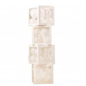 "KIT OF 4 ""BABY"" BALLOON BOXES - WHITE"