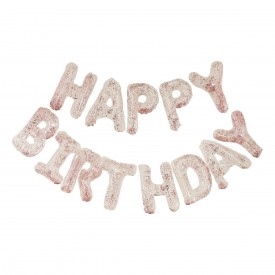 """MYLAR FOIL """"HAPPY BIRTHDAY"""" BALLOON - TRANSPARENT PINK GOLD AND CONFETTI"""