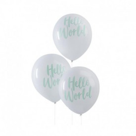 "10 ""HELLO WORLD"" BALLOONS – WHITE AND MINT"