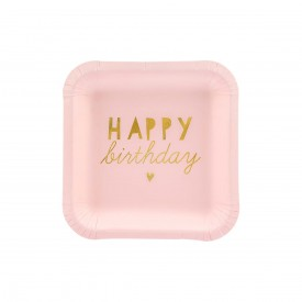 "6 SMALL PLATES "" HAPPY BIRTHDAY"" - LIGHT PINK AND GOLD"