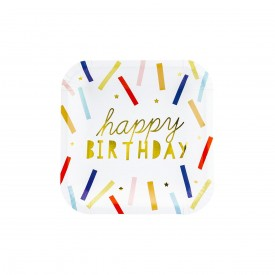"6 PLATES ""HAPPY BIRTHDAY"" - MULTICOLOR"