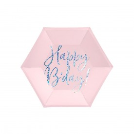"6 ""HAPPY BIRTHDAY"" PLATES - PINK AND HOLOGRAPHIC"
