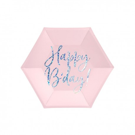 """6 """"HAPPY BIRTHDAY"""" PLATES - PINK AND HOLOGRAPHIC"""